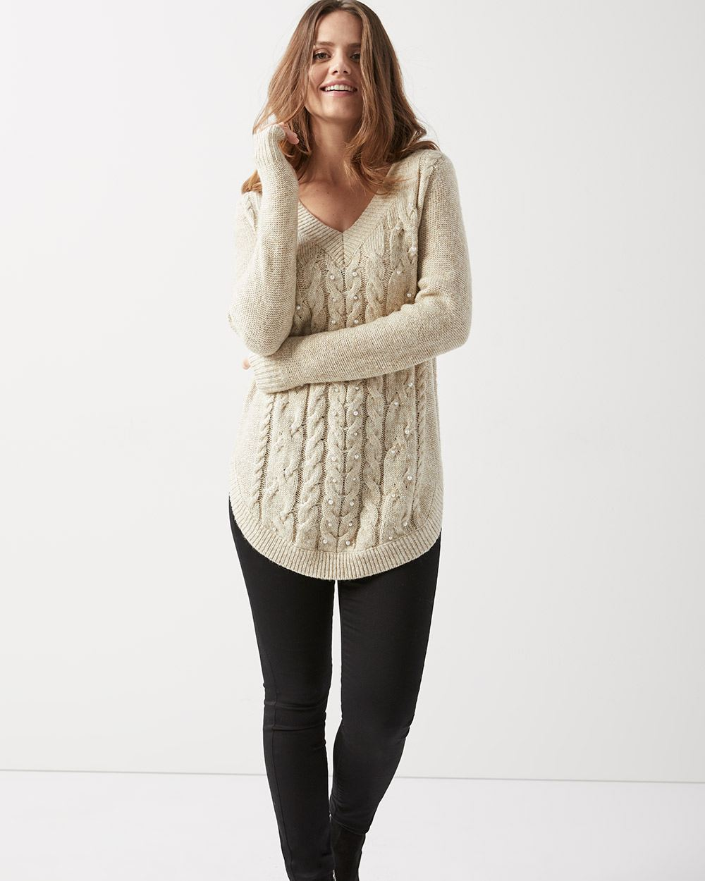 Hairy knit cable tunic sweater with pearls