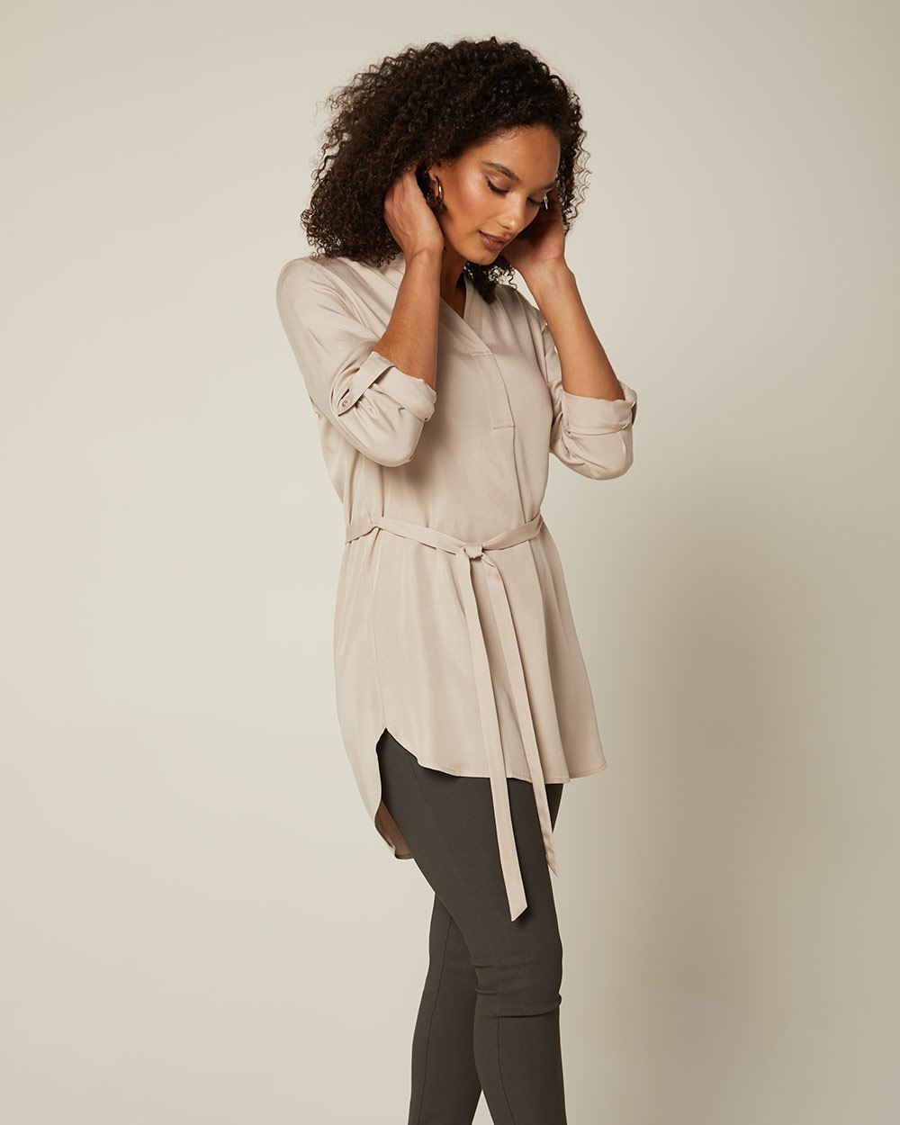 C&G relaxed fit belted tunic blouse
