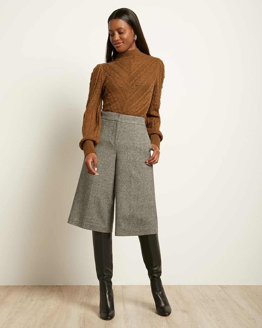 Black Tweed High-waist Cropped Wide Leg Pant