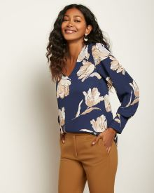 V-Neck Puffy Sleeve Popover Blouse