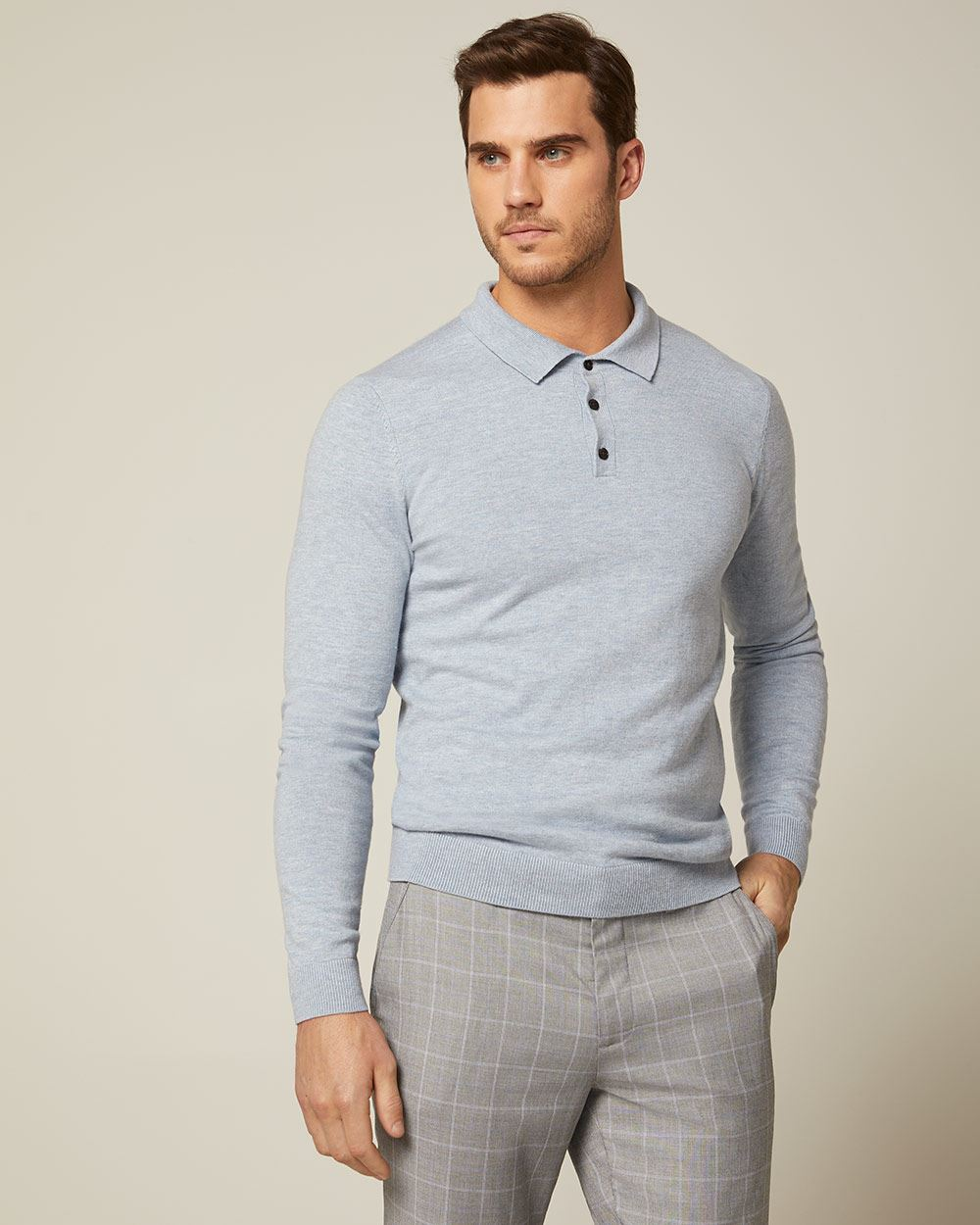 Long sleeve light blue polo sweater