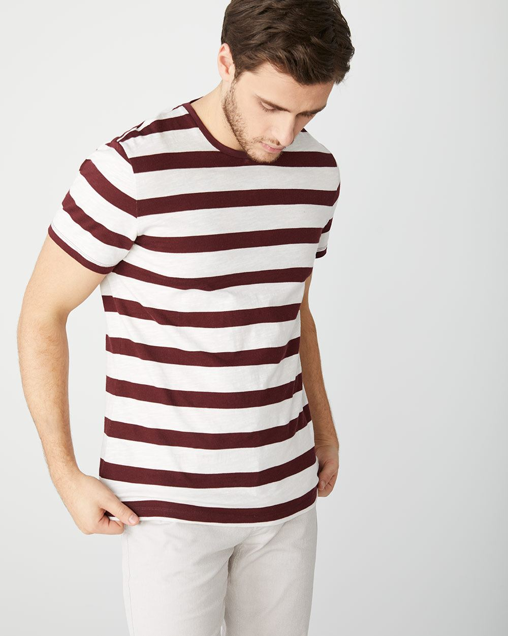 striped slub crew-neck t-shirt