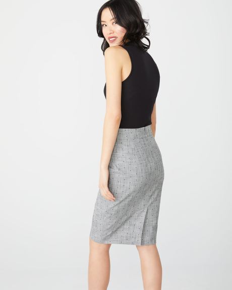 High-waist crosshatch dot pencil skirt
