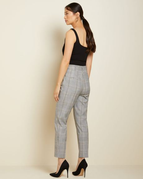 High-waist plaid paper bag pant