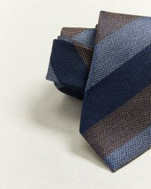 Regular camel and blue stripe tie