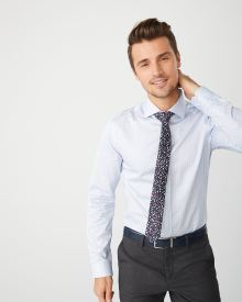 Slim Fit micro blue floral dress shirt