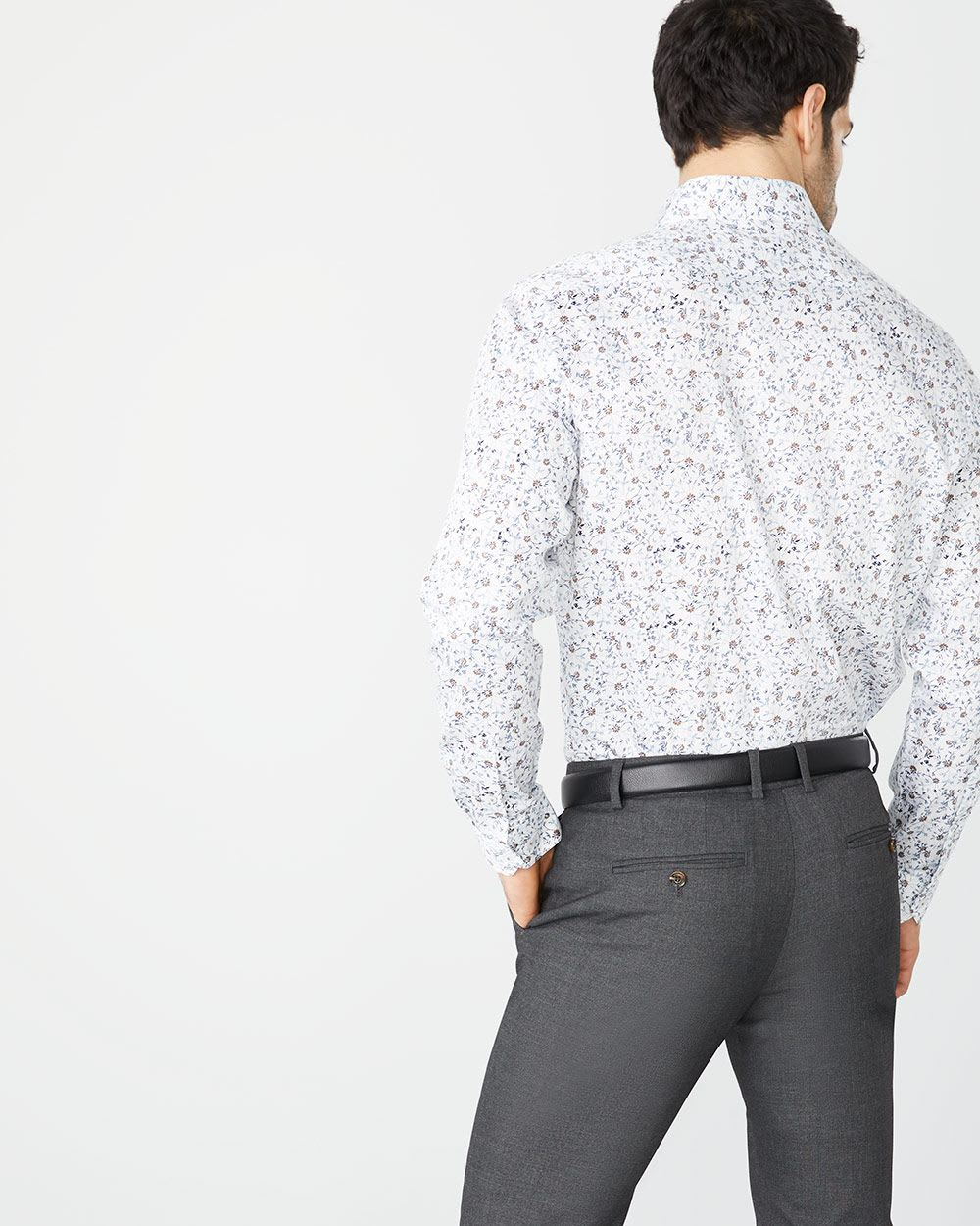 Athletic Fit faded floral dress shirt