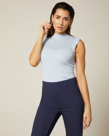 Ribbed Bodycon sleeveless mock-neck sweater