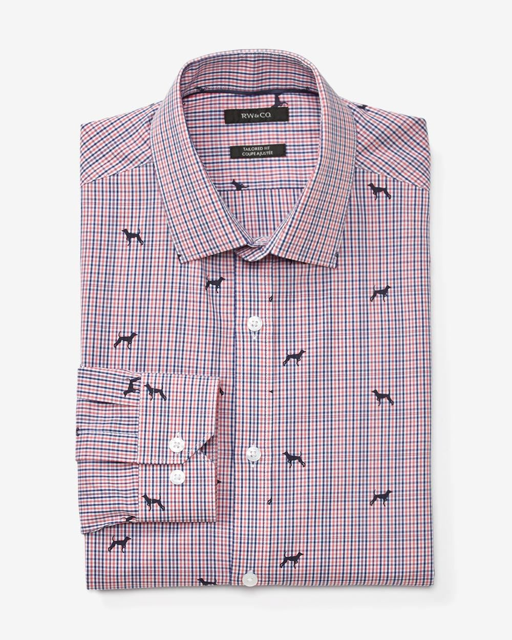 Tailored fit dress shirt with dog print check rw co for Tailoring a dress shirt