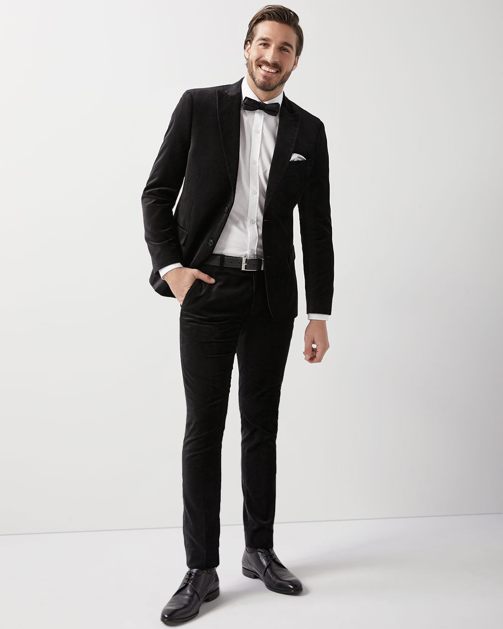 Slim Fit Black Velvet Blazer Rw Co