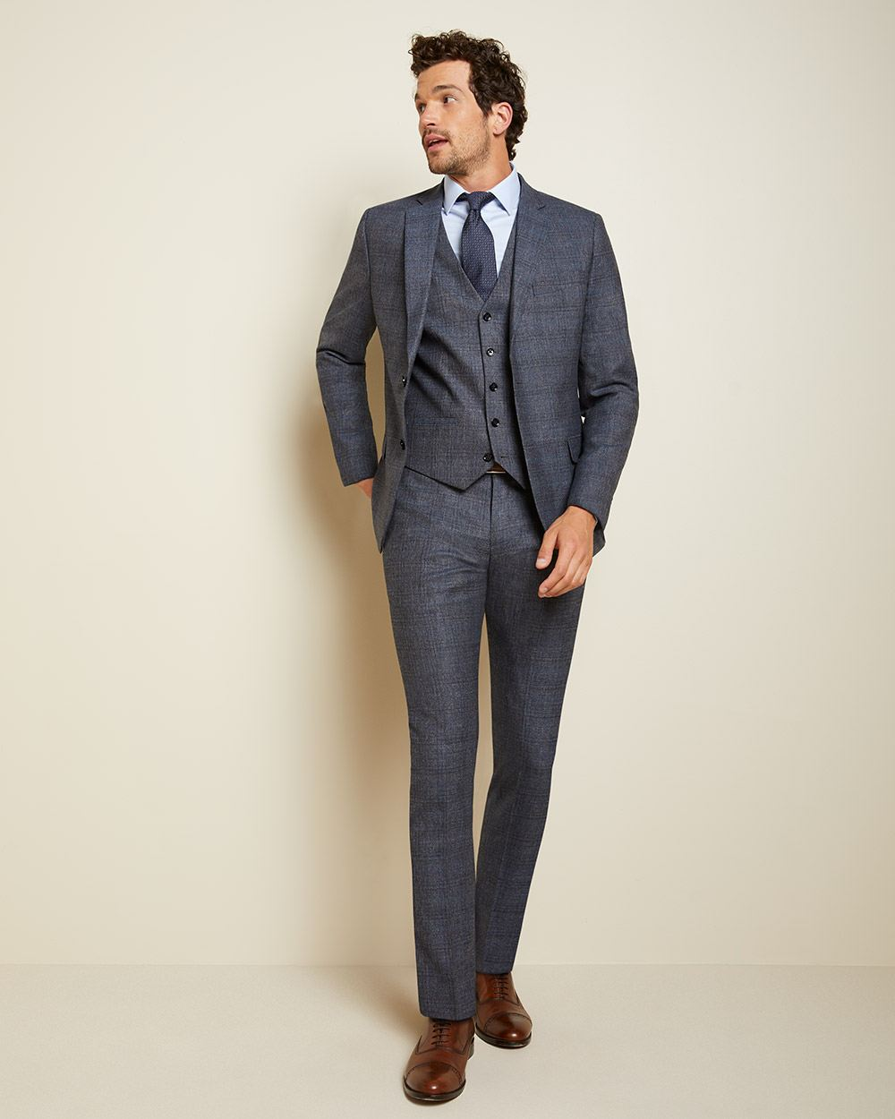 Slim Fit Check Wool Suit Pant