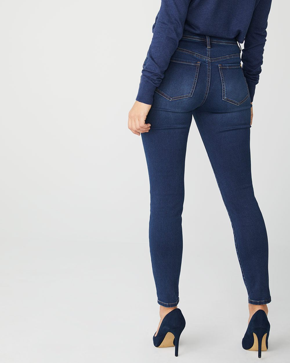 Natalie Mid-rise ankle jegging in rinse wash denim