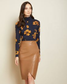 Faux leather wrap pencil skirt