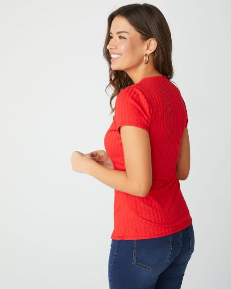 Ribbed wrap-front t-shirt
