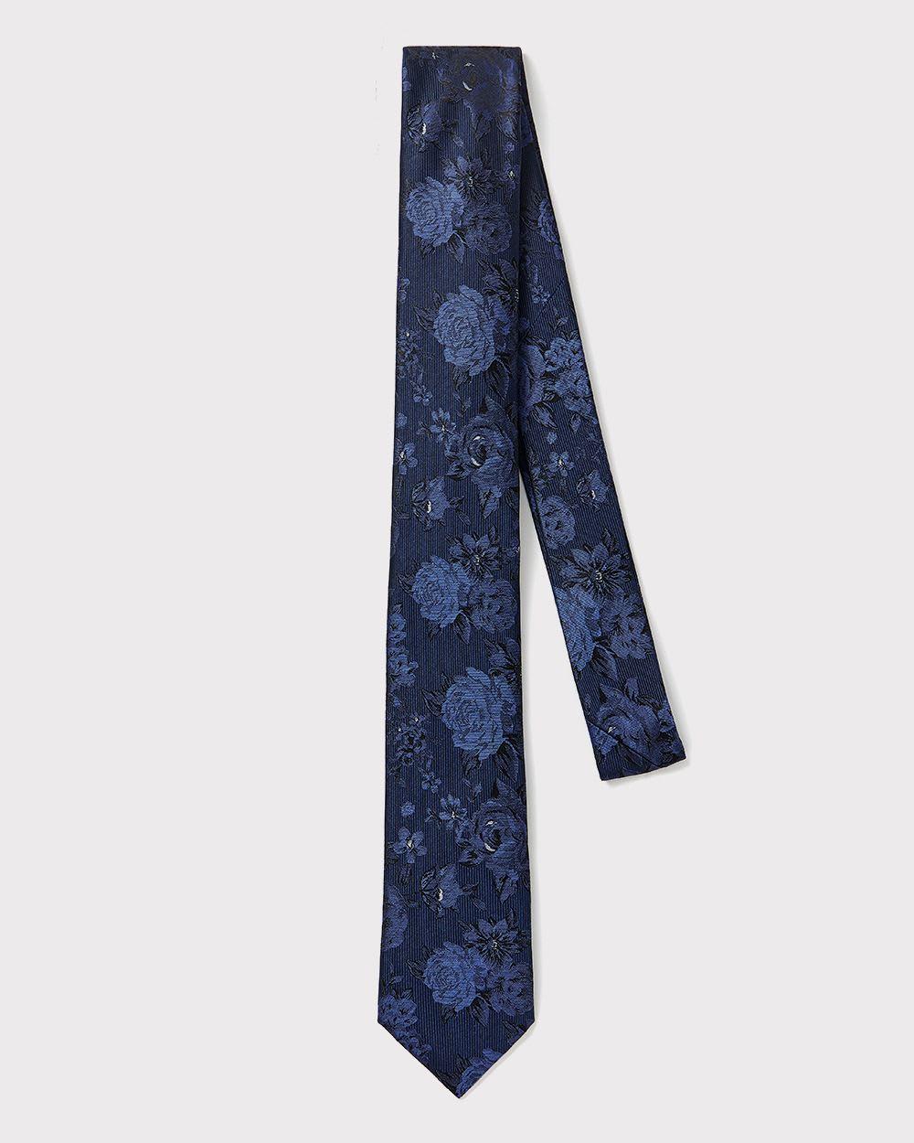 e8d476613ac0 Cravate régulière en soie à motif floral ton sur ton   RW CO.