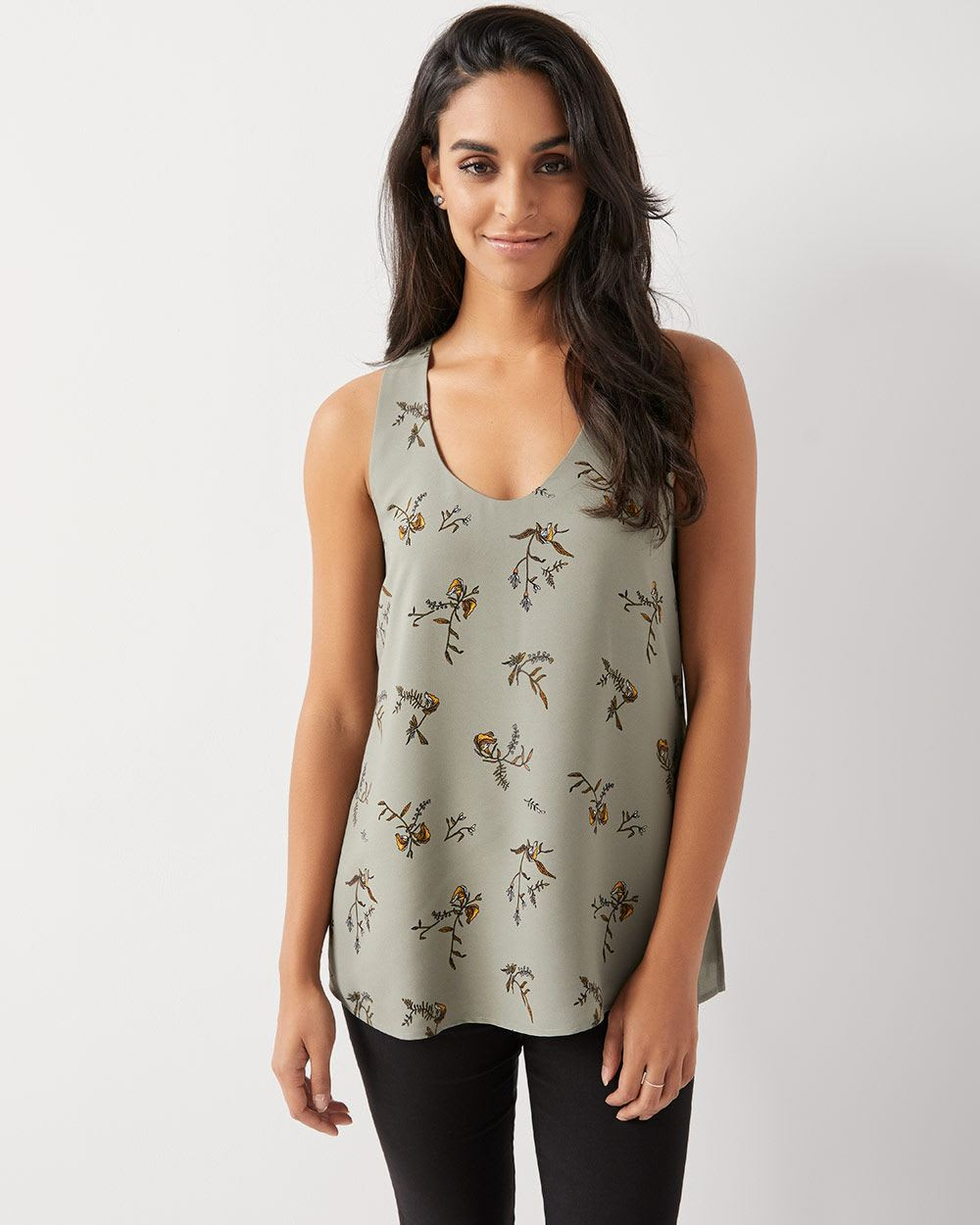 dbf7a80f8d C G Printed silky crepe sleeveless tunic blouse