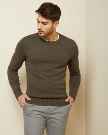 Nepped crew-neck sweater