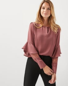 Silky crepe blouse with ruffles and lace sleeve