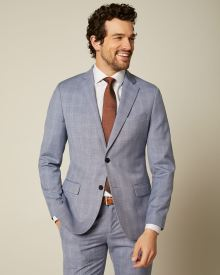 Slim Fit Blue Check Suit Blazer