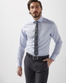 Slim Fit light blue micro dot dress shirt