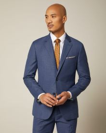 Slim fit textured medium blue suit blazer