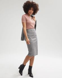 Birdseye High-Waist Pencil Skirt