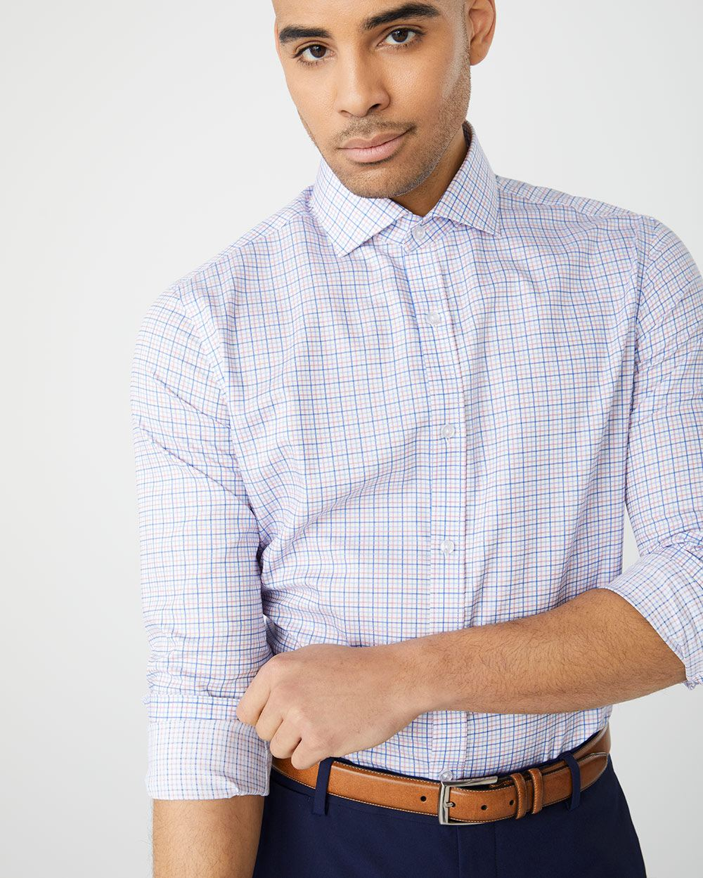 Athletic fit pastel check dress shirt