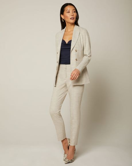 Loose fit faux Double-breasted slub blazer