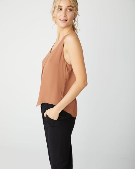 Front pleat solid cami blouse