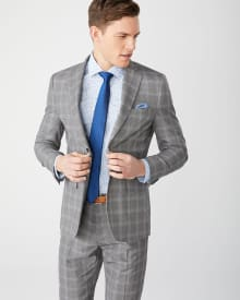Tailored fit grey check suit blazer