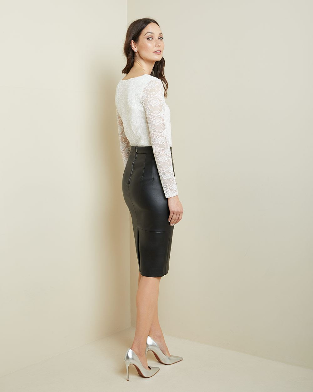 Faux leather High-waist pencil skirt