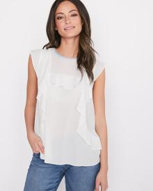 Blouse en mousseline sans manches à volants
