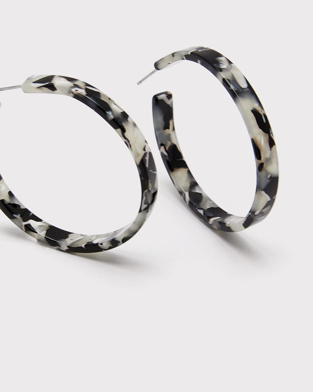 Black Tortoise shell hoop earrings