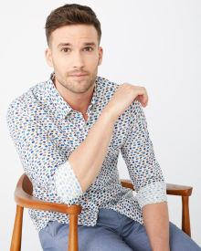 Slim fit fish print shirt