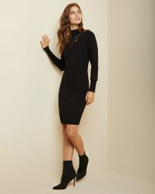 Lace-trimmed bodycon sweater dress