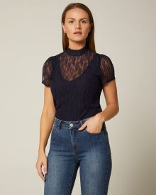 Allover lace short sleeve mock-neck t-shirt