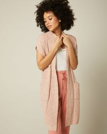 C&G Slub Sleeveless Open-Front Cardigan