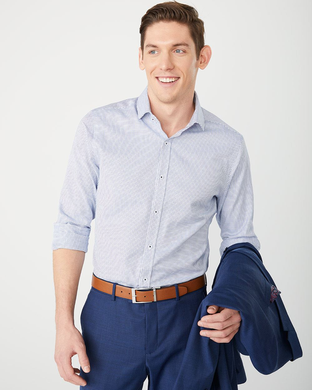 Athletic Fit micro pattern Dress Shirt