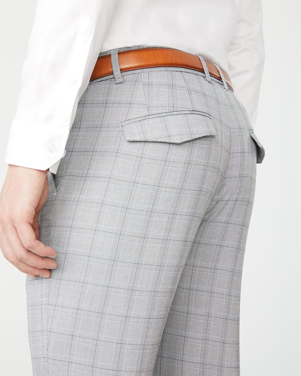 Slim fit light grey check City Pant - 30''