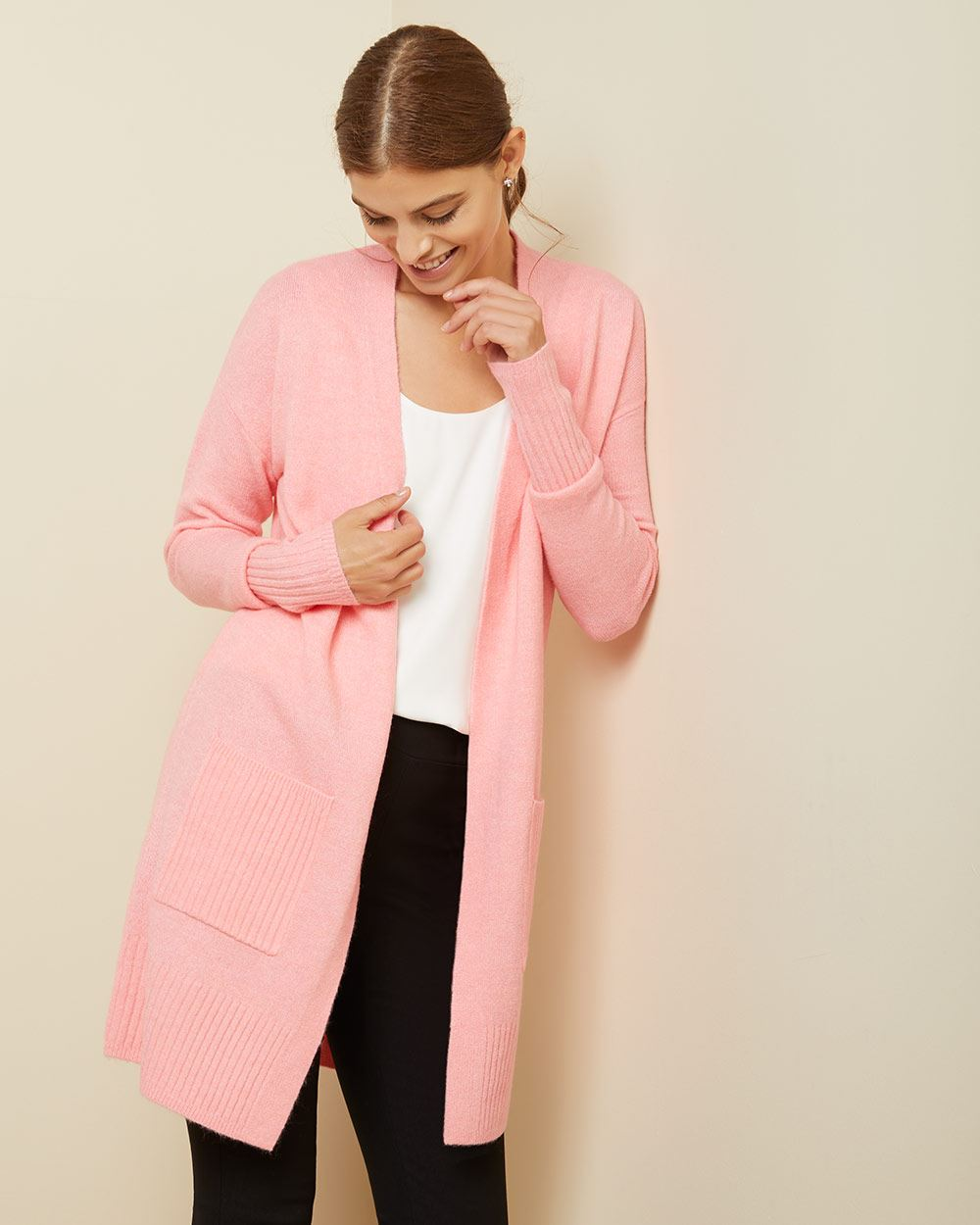 Spongy Knit Open-front Cardigan with pockets