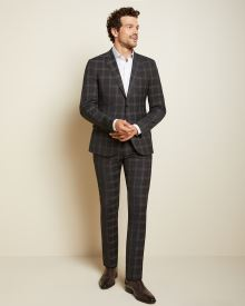 Slim Fit brown check wool-blend suit Blazer