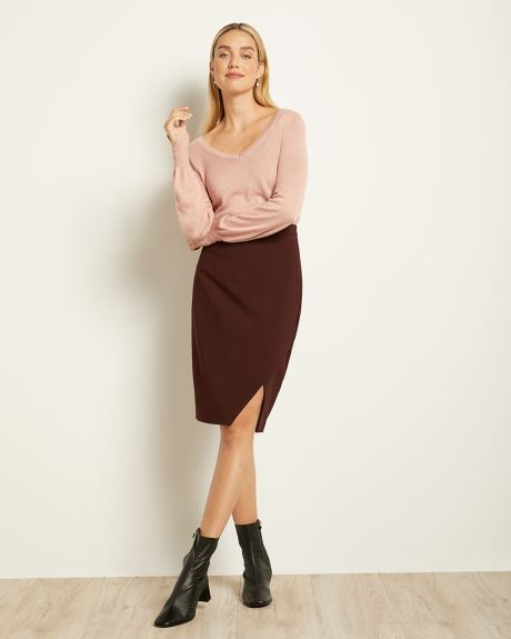High-Waist Faux Wrap Pencil Skirt