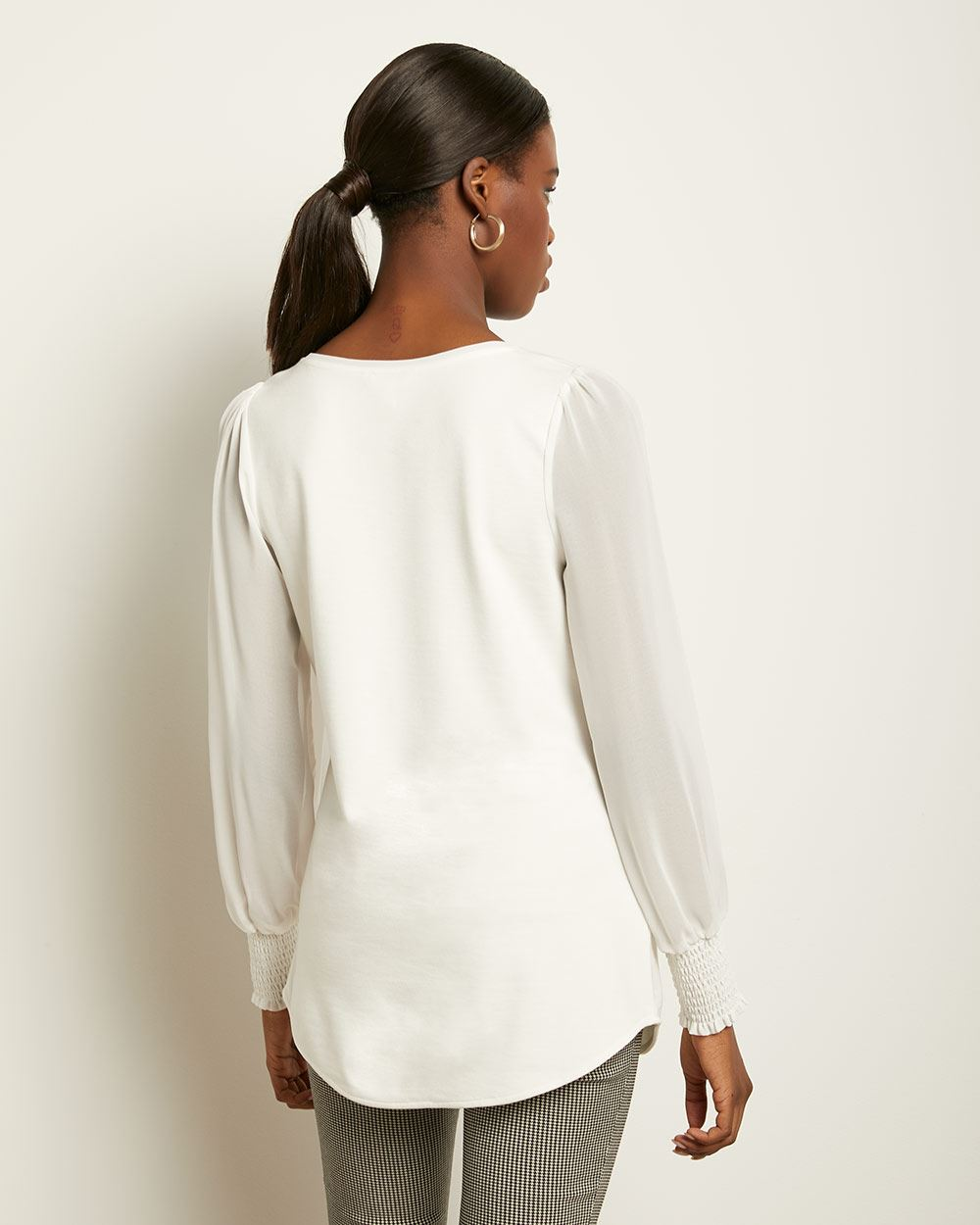 C&G Chiffon Sleeve V-Neck Tunic Top