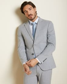 Slim Fit light grey check suit Blazer