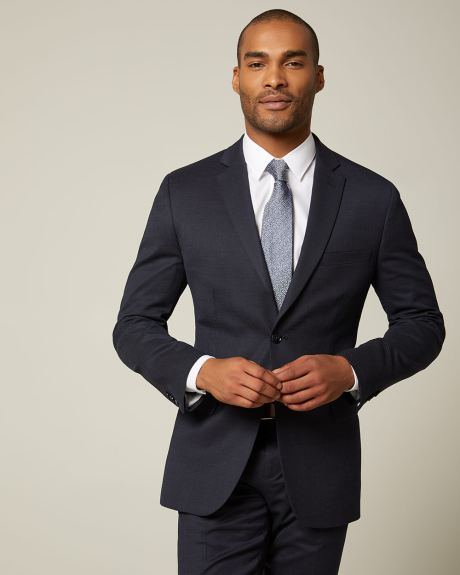 Tailored fit Dotted blue wool and silk blend suit blazer