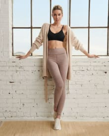 Taupe Brown Super Soft Loungewear Ankle-Length Legging