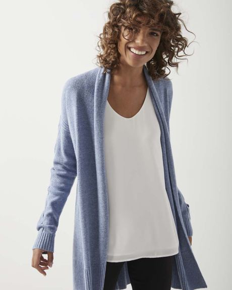 C&G Cable sleeve Cashmere-like open cardigan