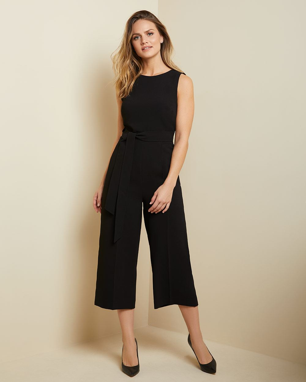 Crossover back Crop leg jumpsuit