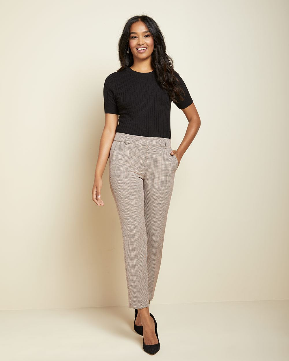 Checkered Curvy fit Slim Leg Ankle Pant