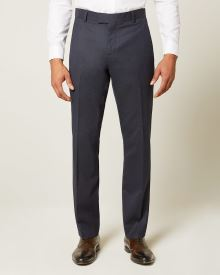 Tailored fit Dotted blue wool and silk blend suit pant